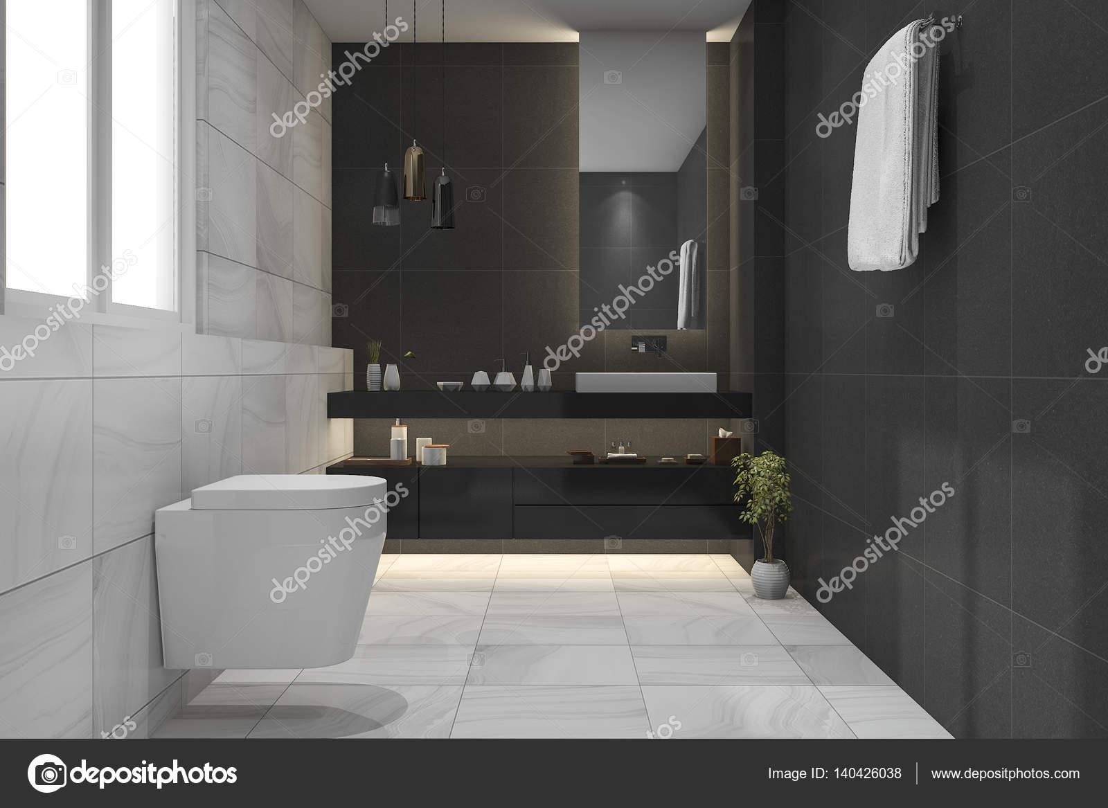 Luxe Donkere Badkamer : 3d rendering mooie luxe donkere badkamer en toilet u2014 stockfoto