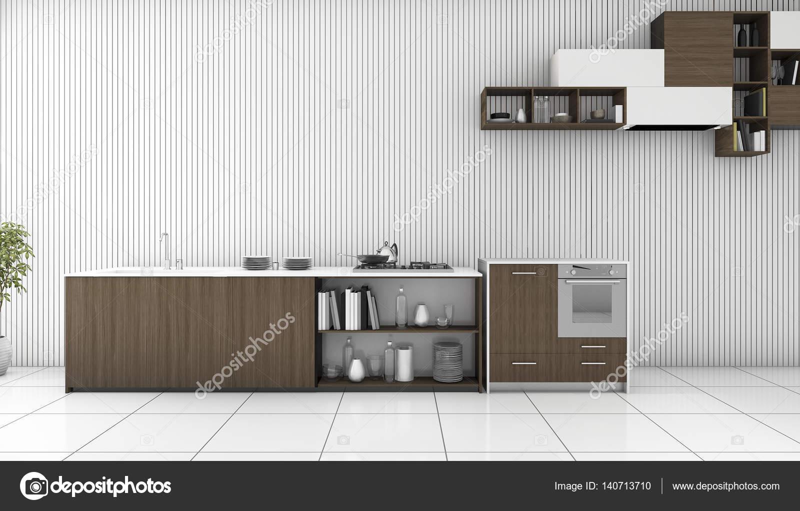 3D Rendering dunklen Holz Theke Küche in weißen Raum — Stockfoto ...