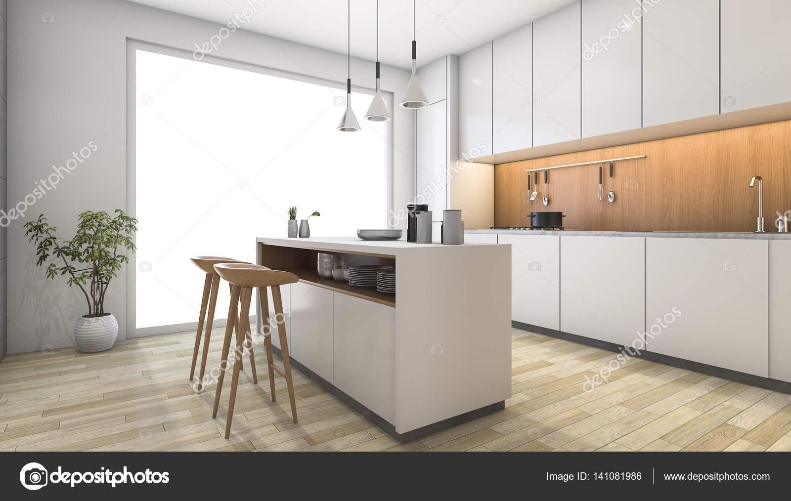 3D Rendering weiße moderne Küche mit Bar aus Holz — Stockfoto ...
