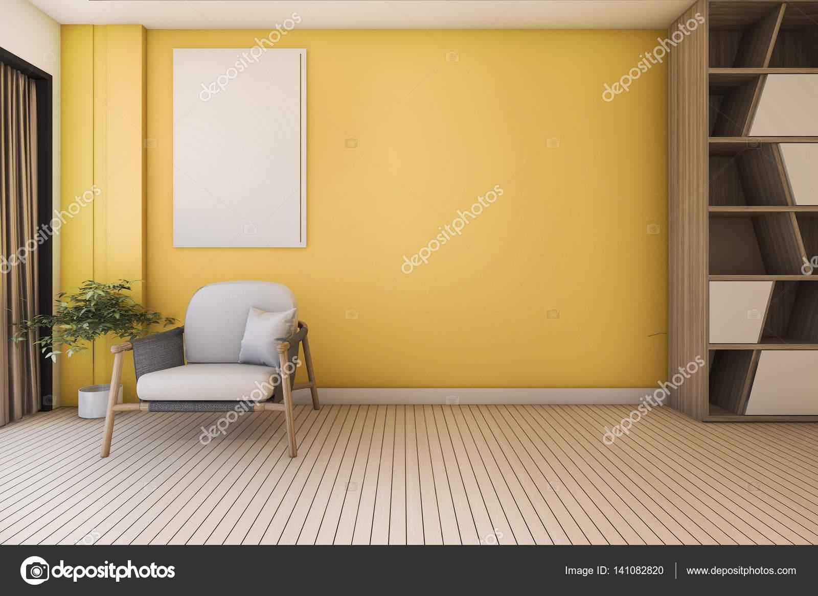 3D Rendering Vintage gelb Wohnzimmer mit Sessel und schönes design ...