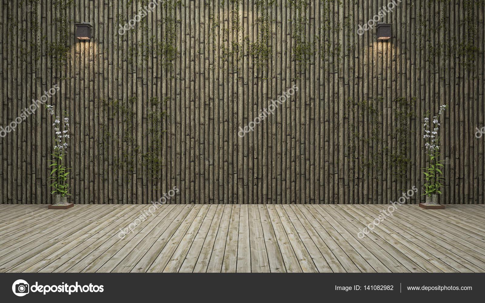 3d Rendering Bambus Wand Raum Mit Naturlichen Dekoration Stockfoto