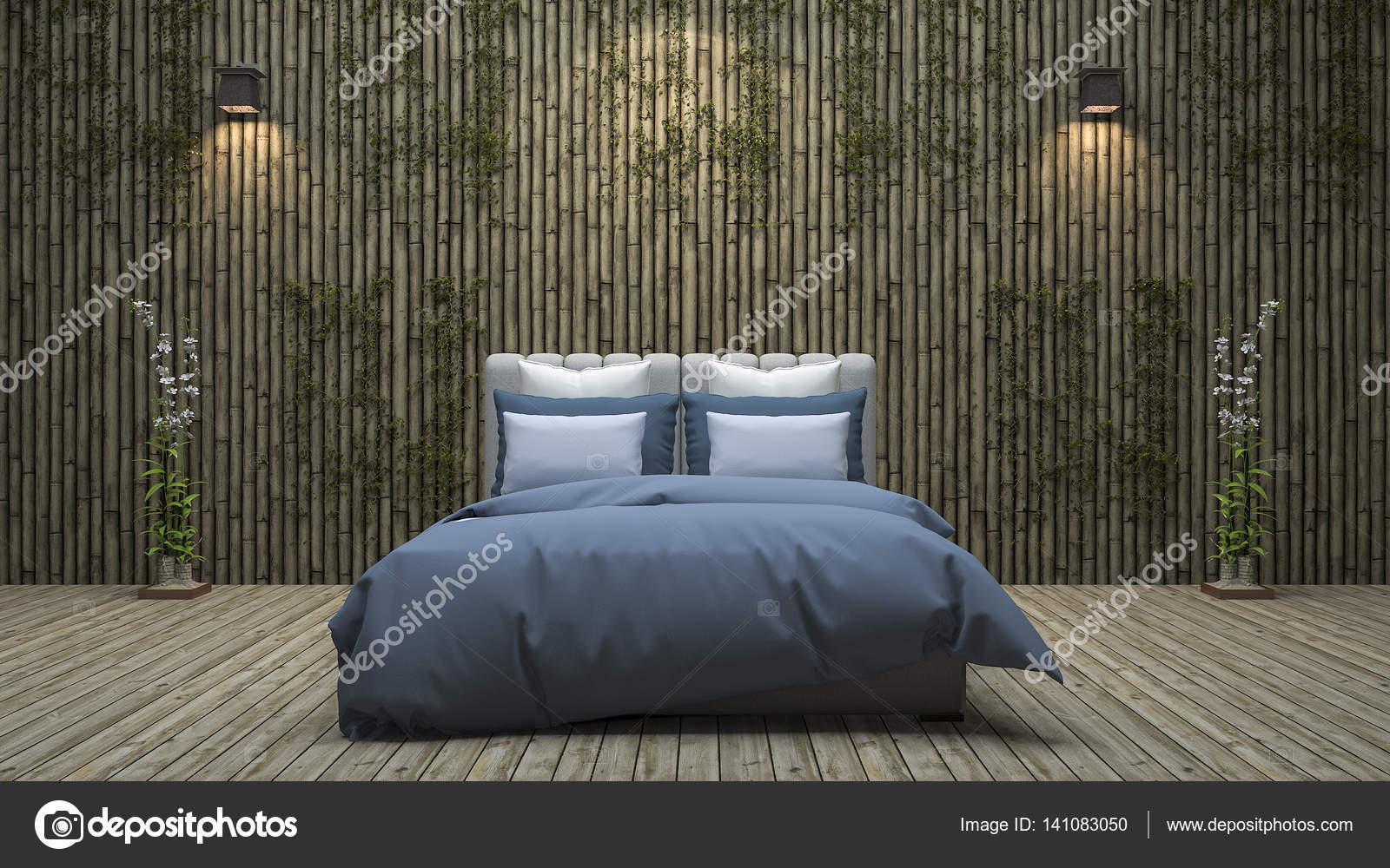 D rendering bamboe muur slaapkamer met natuurlijke decoratie