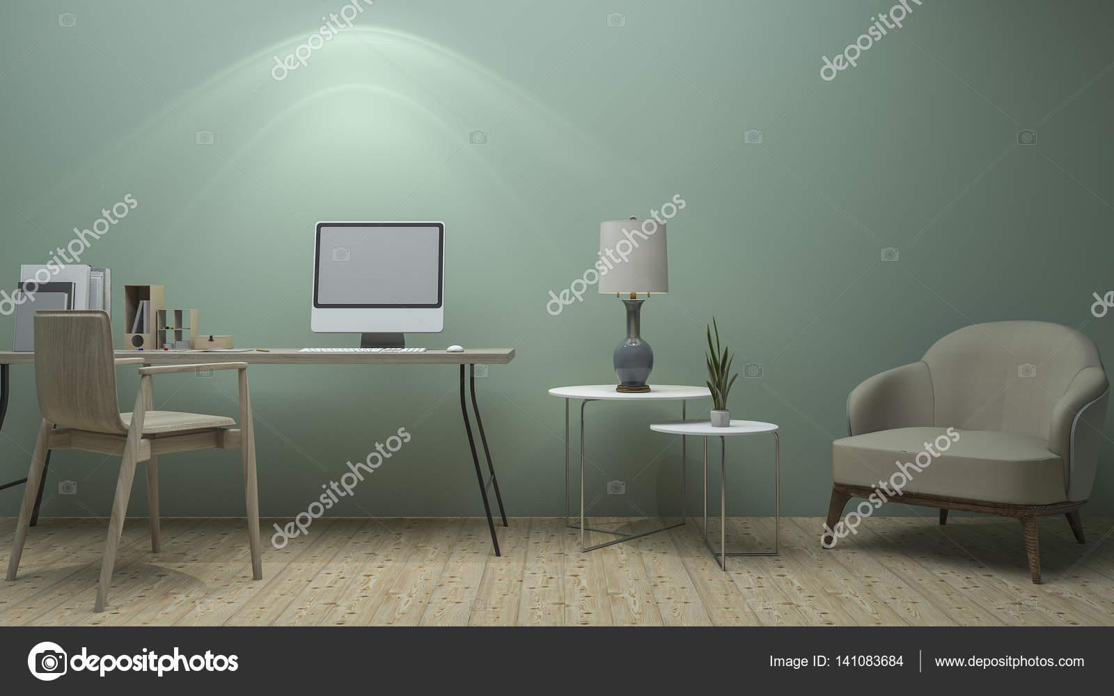 3D Rendering schöne Vintage grün arbeiten Zimmer mit klassischen ...