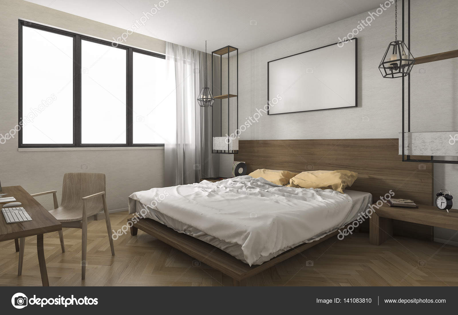 3d Rendering Bright Minimal Bedroom With Small Working Table U2014 Stock Photo