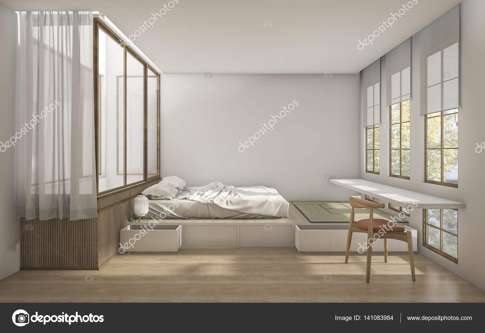 3D rendering Japanse stijl slaapkamer met minimale decoratie ...