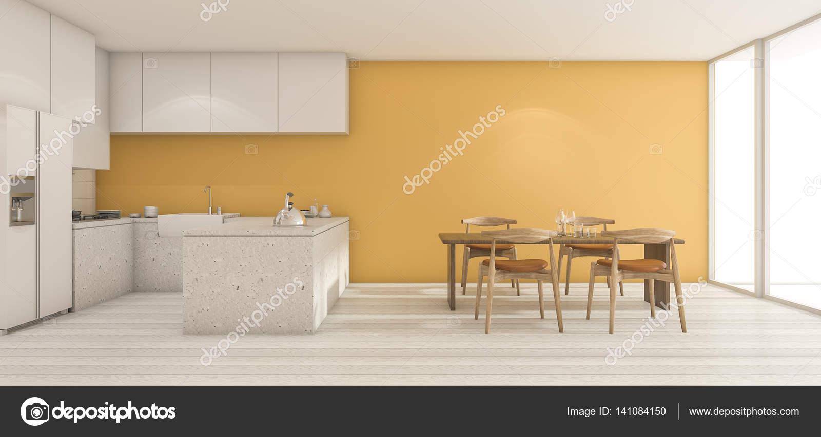 Tavoli Da Parete Cucina : 3d rendering largo giallo parete cucina con tavolo da pranzo in