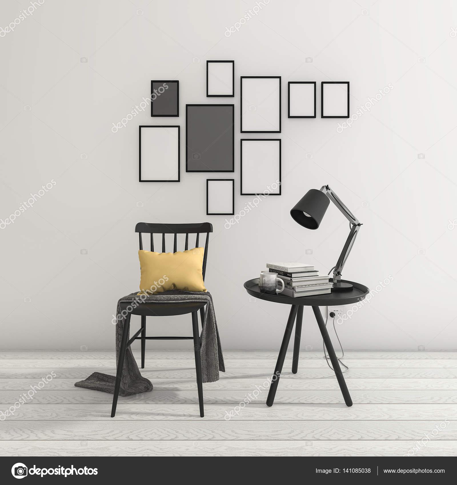 3D Rendering minimalen schwarzen Stuhl und Tisch mit Bilderrahmen ...