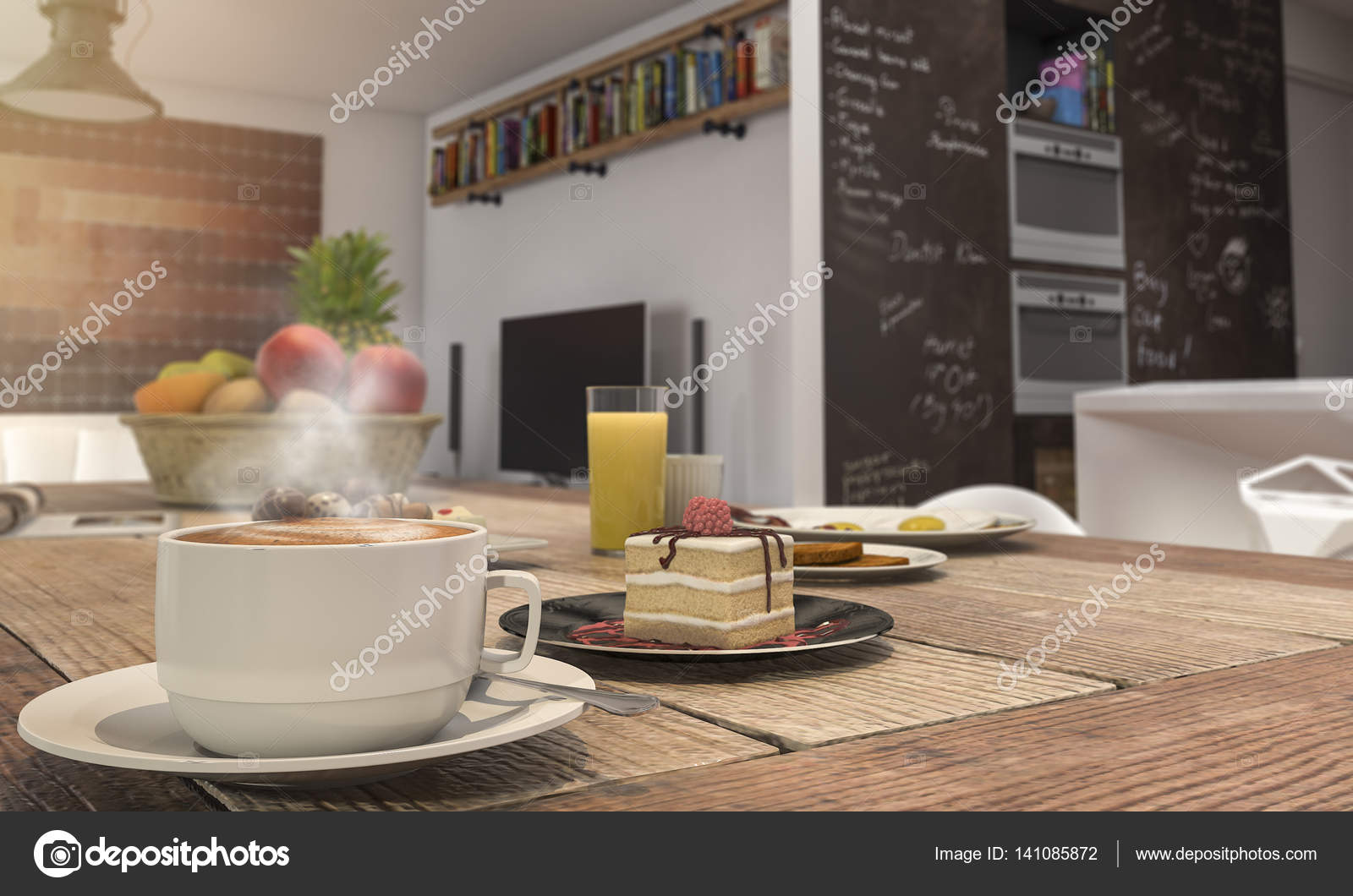 D Rendering Depth Of Field Nice Coffee Set And Cake On Wooden Table - Coffee table depth