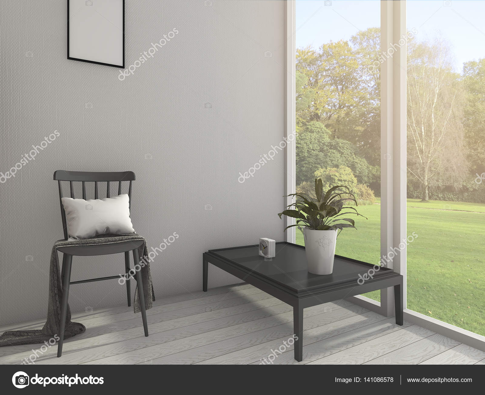 3d Rendering Vintage Minimal Living Room With Shelf Decor And Beautiful  Design Chair Near The Window