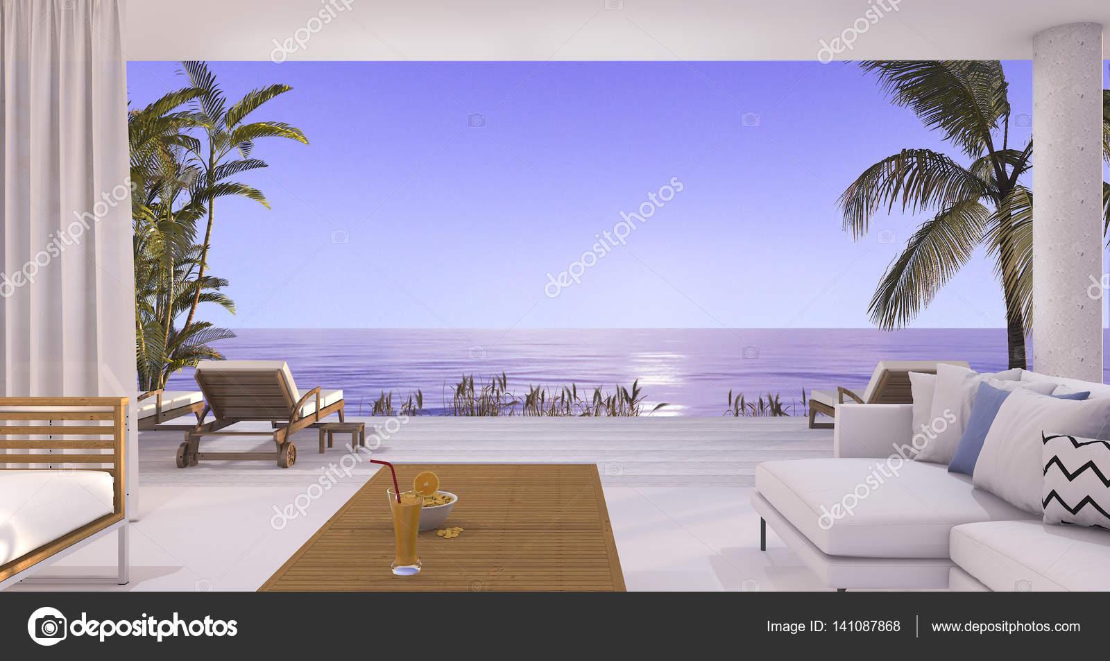 3d Rendering Luxus Villa Wohnzimmer In Der Nahe Von Strand Und