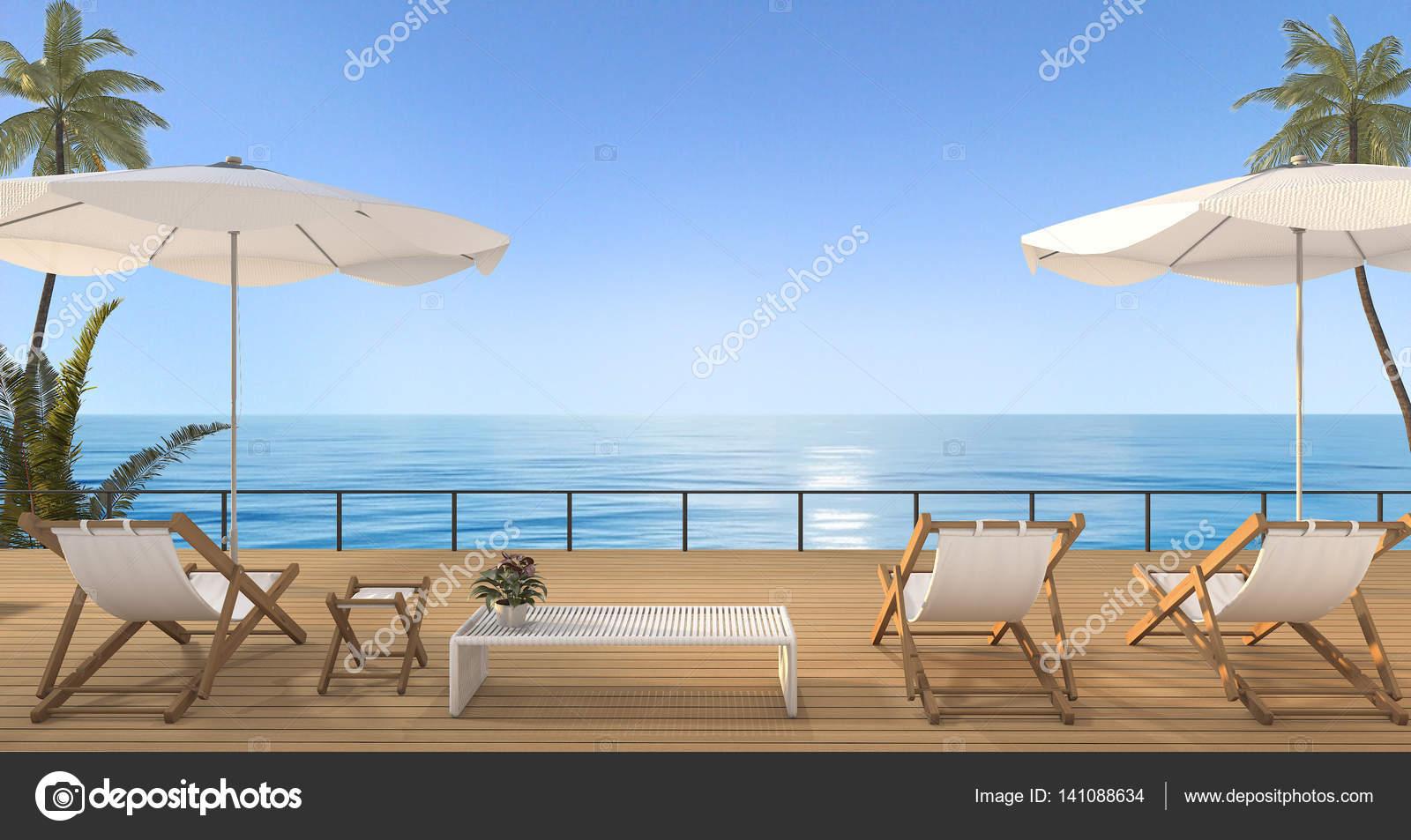 lit de plage vintage rendu 3d sur terrasse bois bord de mer hawaii photographie dit26978. Black Bedroom Furniture Sets. Home Design Ideas