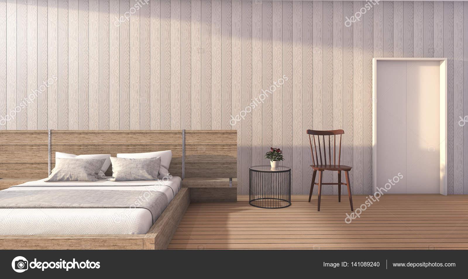 Camera Da Letto Romantica Bianca : D che rende camera da letto di legno bianca minima con luce del