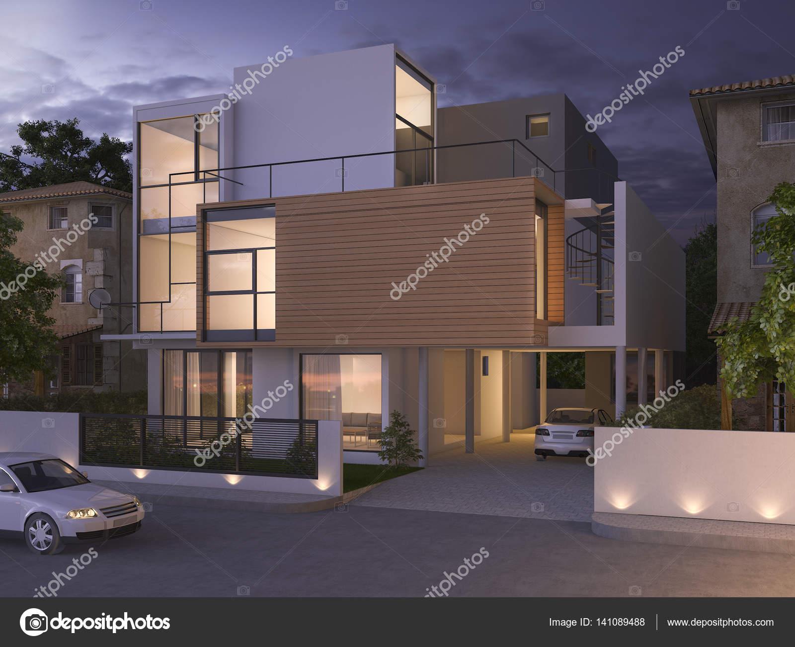 3d rendering prachtige moderne design zwarte bakstenen huis in de