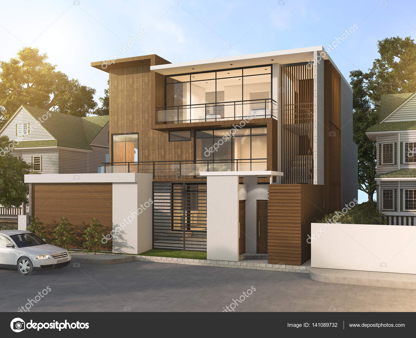 D rendering mooie moderne stijl hout huis in mooie streek
