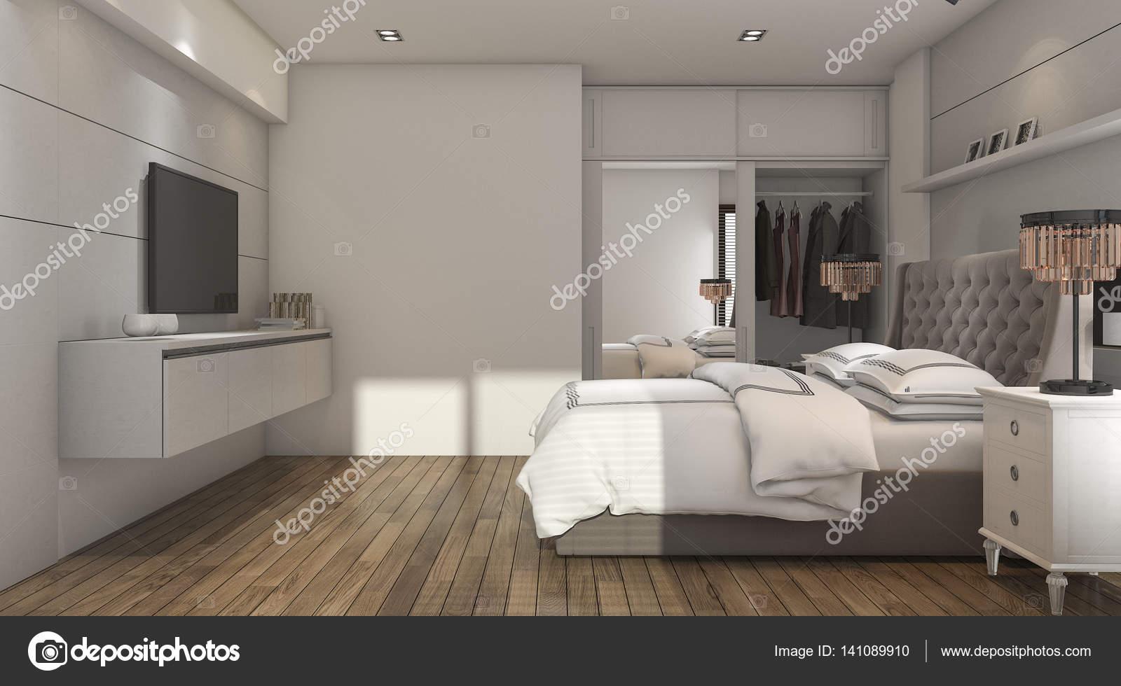 3D rendu bois luxe style chambre à coucher avec placard ...