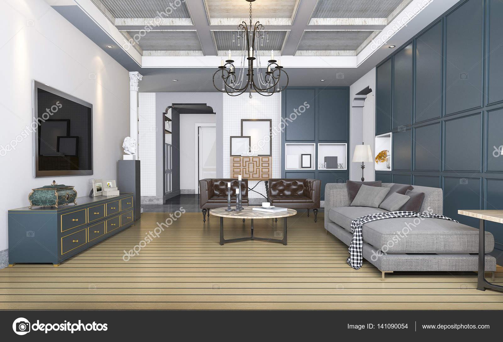 Vintage Woonkamer Meubels : D rendering classic en vintage woonkamer met prachtige meubels