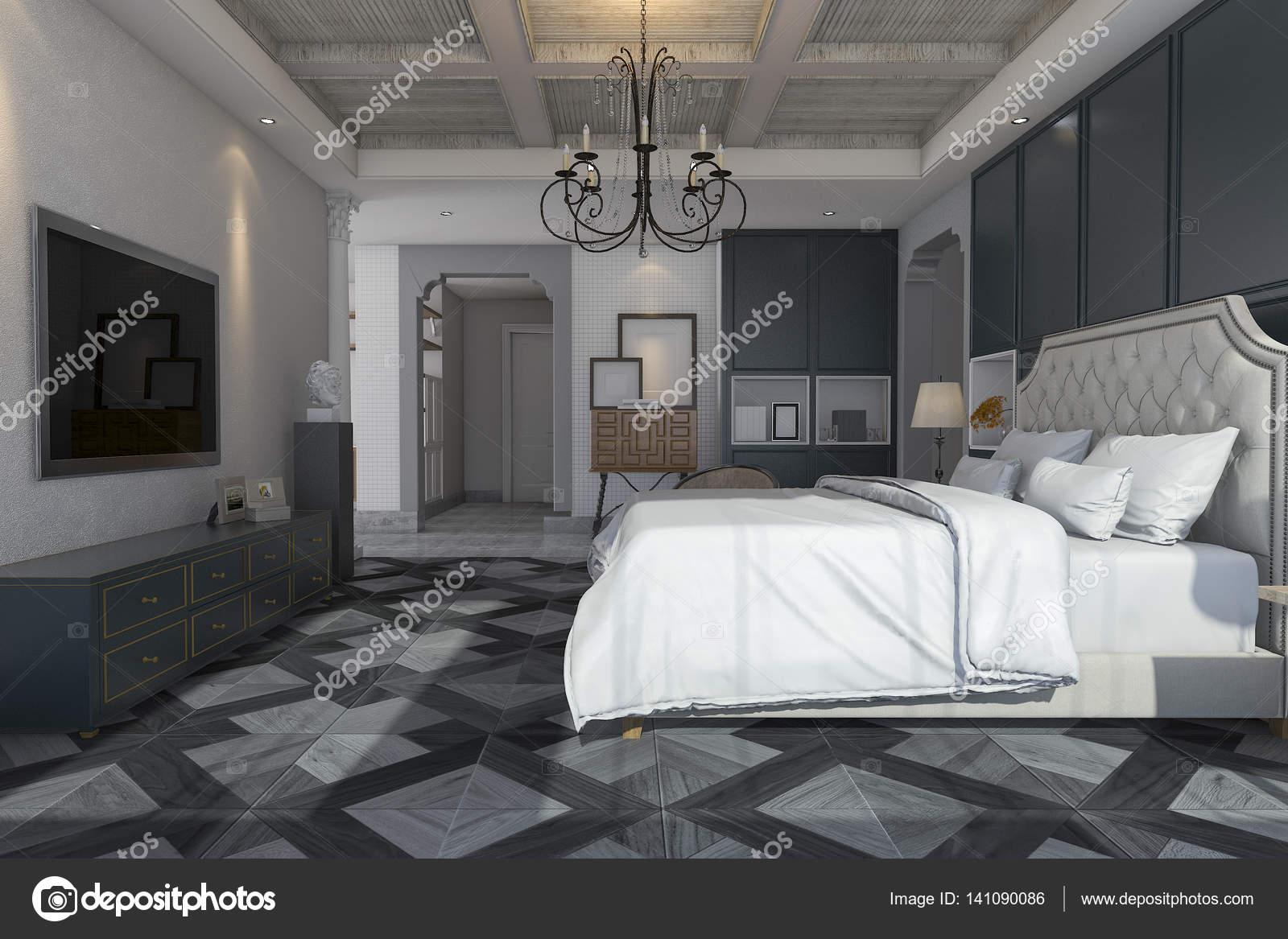 3D rendering classico e vintage camera da letto con tv e lampadario ...