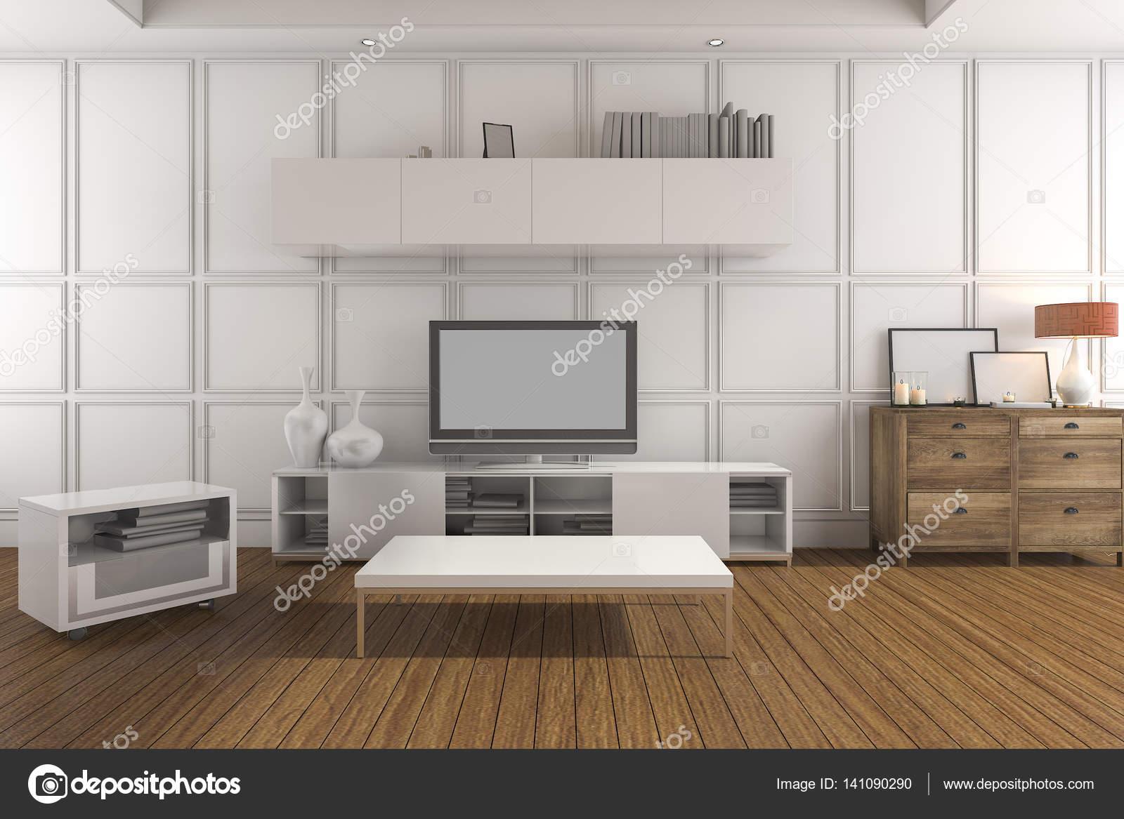 3D rendering bianco classico soggiorno con televisore — Foto ...