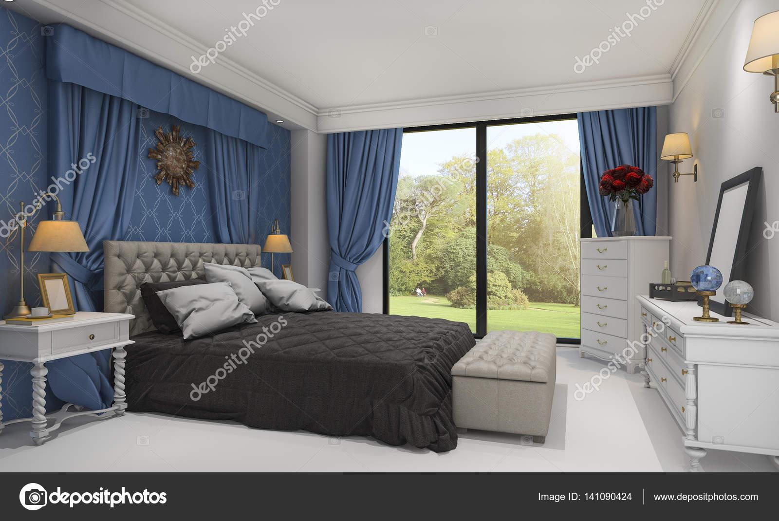 3D rendering schöne klassische Schlafzimmer mit schönen Bett in der ...