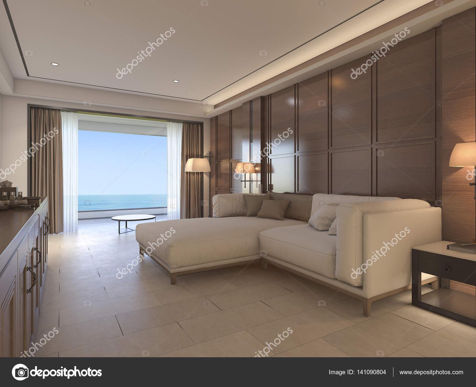 3D-weergave klassieke woonkamer met luxe inrichting — Stockfoto ...