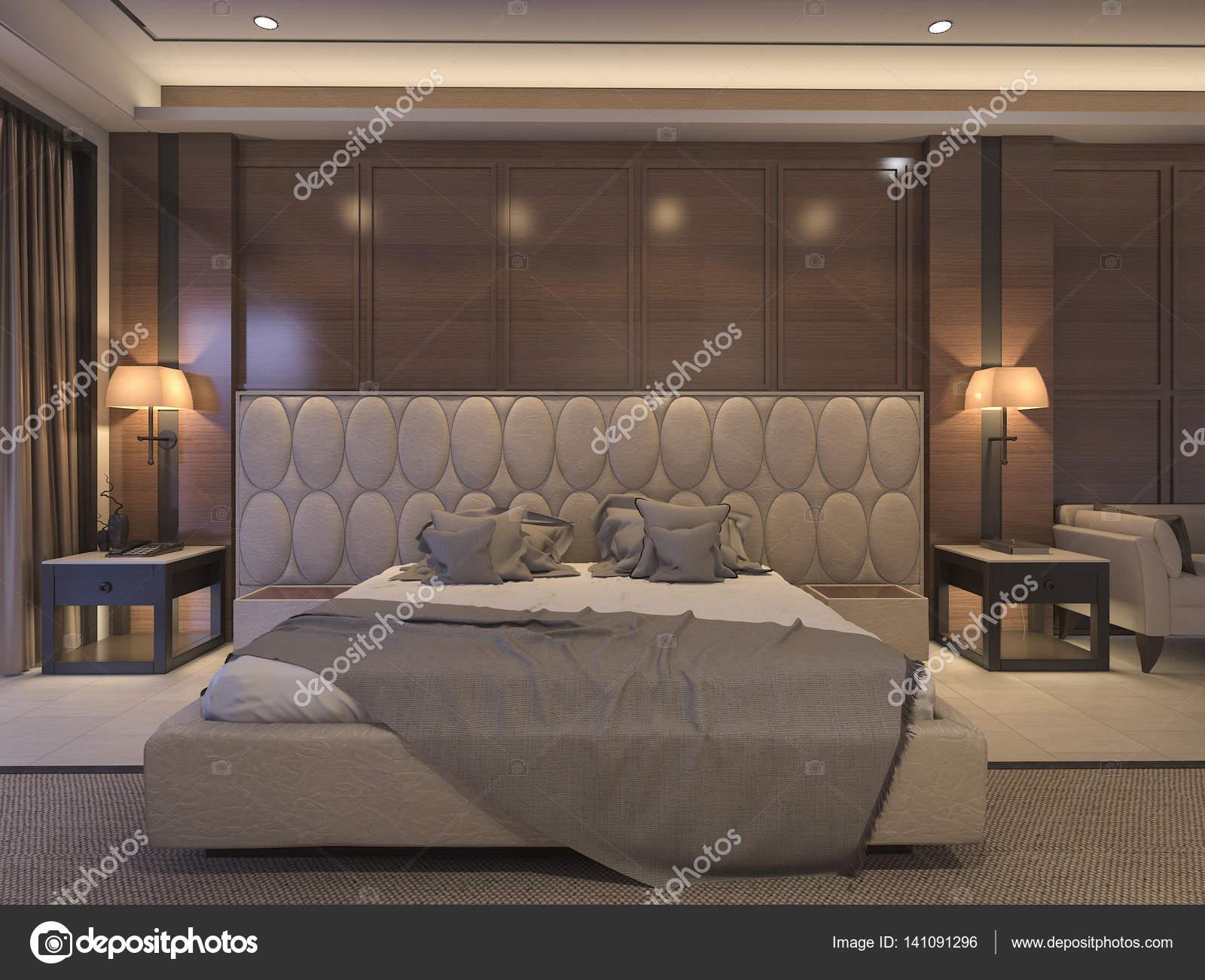 AuBergewohnlich 3D Rendering Klassische Schlafzimmer Mit Luxuriösen Dekor Und Romantischen  Bett U2014 Stockfoto