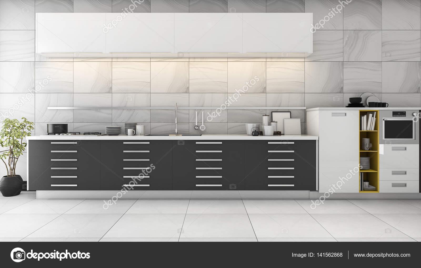 D rendering belle piastrelle da cucina con design moderno nero