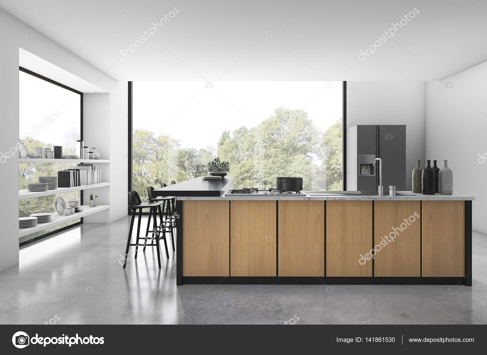 3D Rendering weiße Loft Küche mit Holzdekor und Blick aus Fenster ...