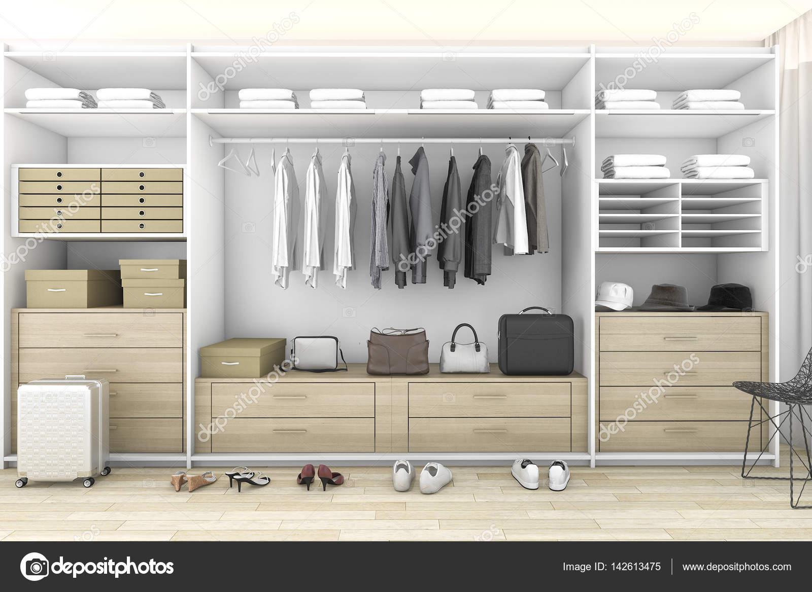 Cabina Armadio Bassa : Legno minimal rendering 3d cabina armadio con guardaroba u2014 foto