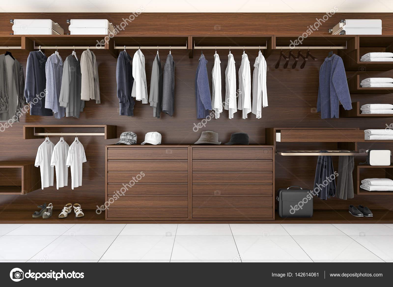 Cabina Armadio English : Rendering d bellissimo legno orizzontale armadio e cabina armadio