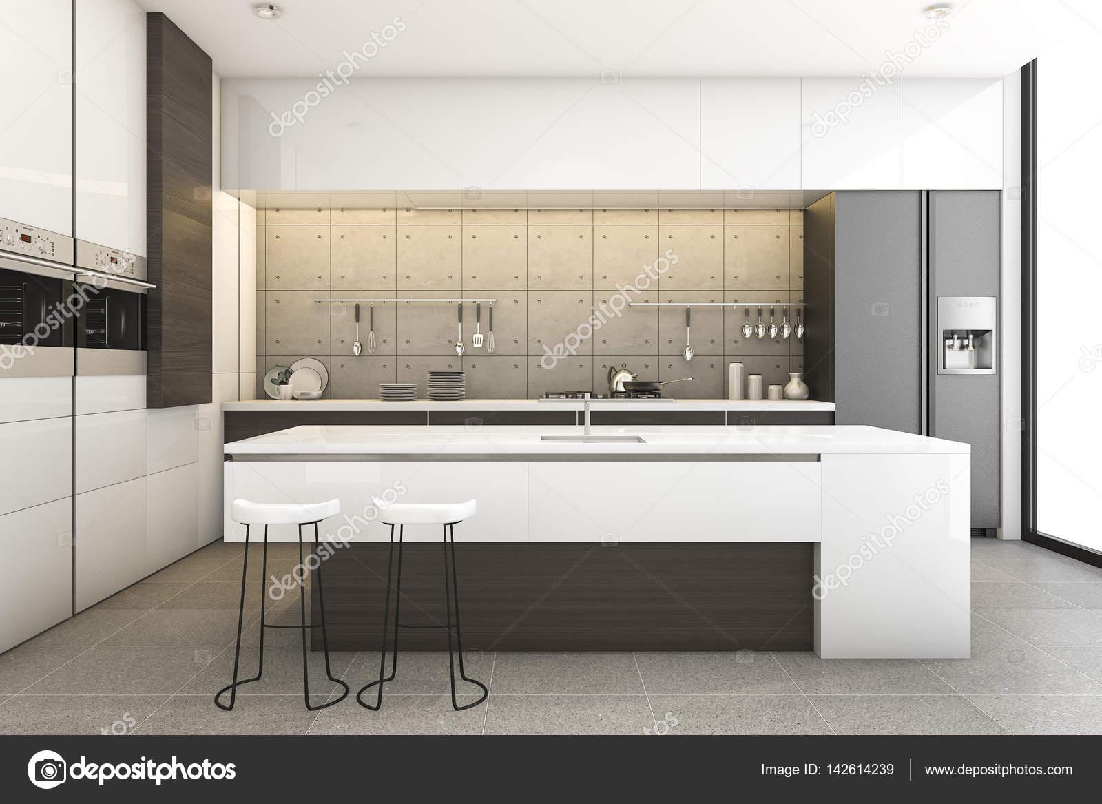 3D Render madera y loft cocina moderna con barra comedor — Fotos de ...
