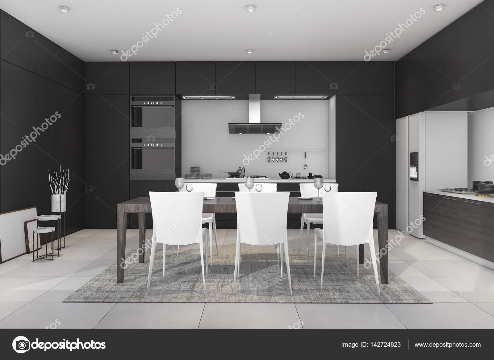3D Rendering Schwarz Moderne Esszimmer Und Küche U2014 Stockfoto