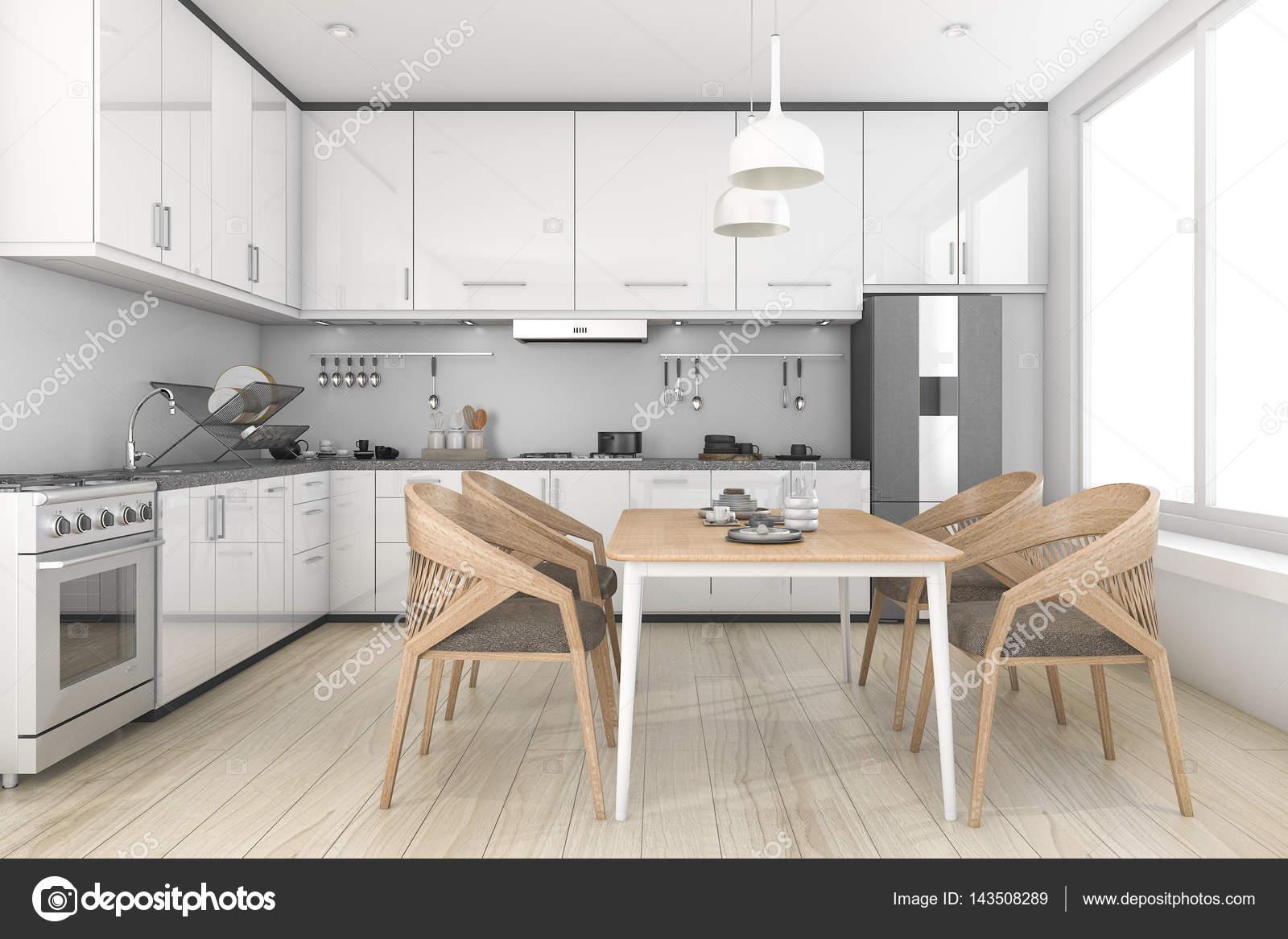 3D rendering weiße Loft und saubere Küche und Esszimmer — Stockfoto ...