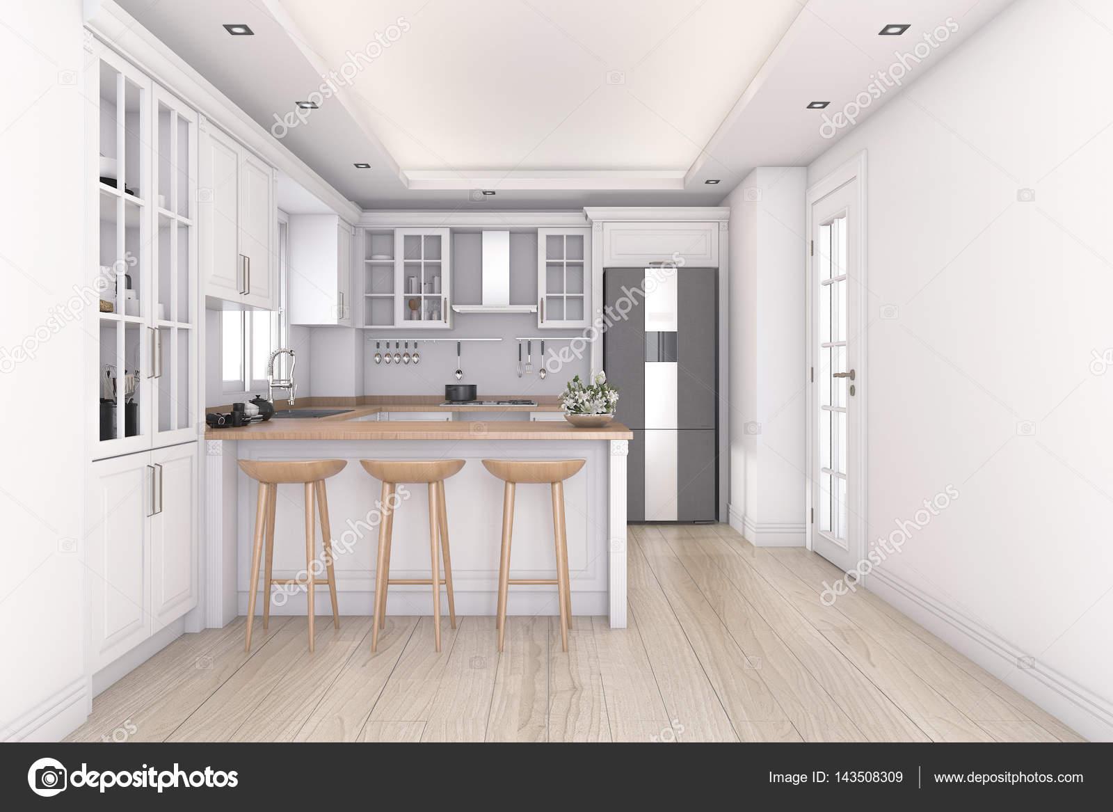 3D Rendering weiße saubere Küche und bar — Stockfoto © dit26978 ...