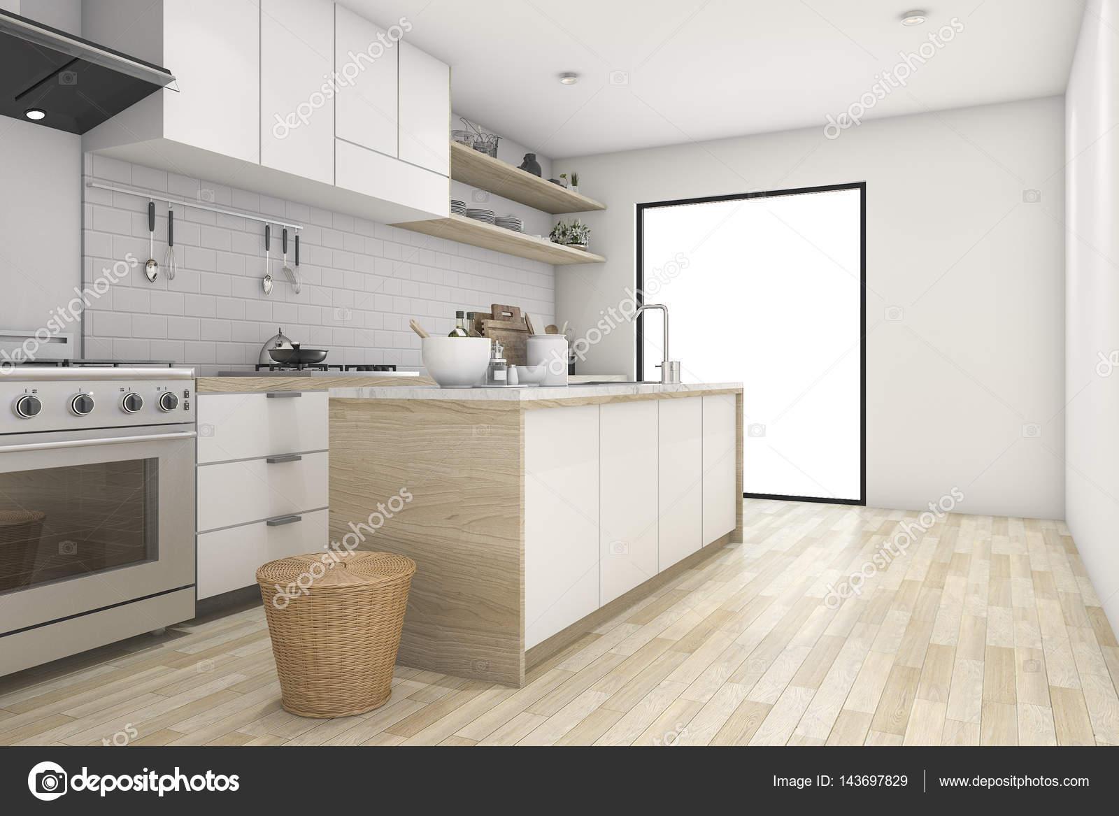 3D cocina mínima representación blanco con madera contemporáneo ...