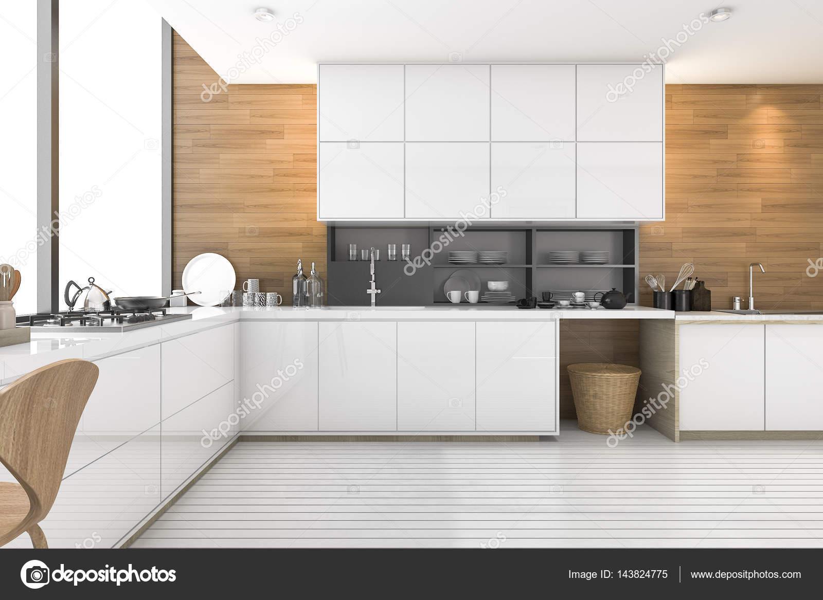 3D Render bonita cocina de madera con diseño de loft — Fotos de ...