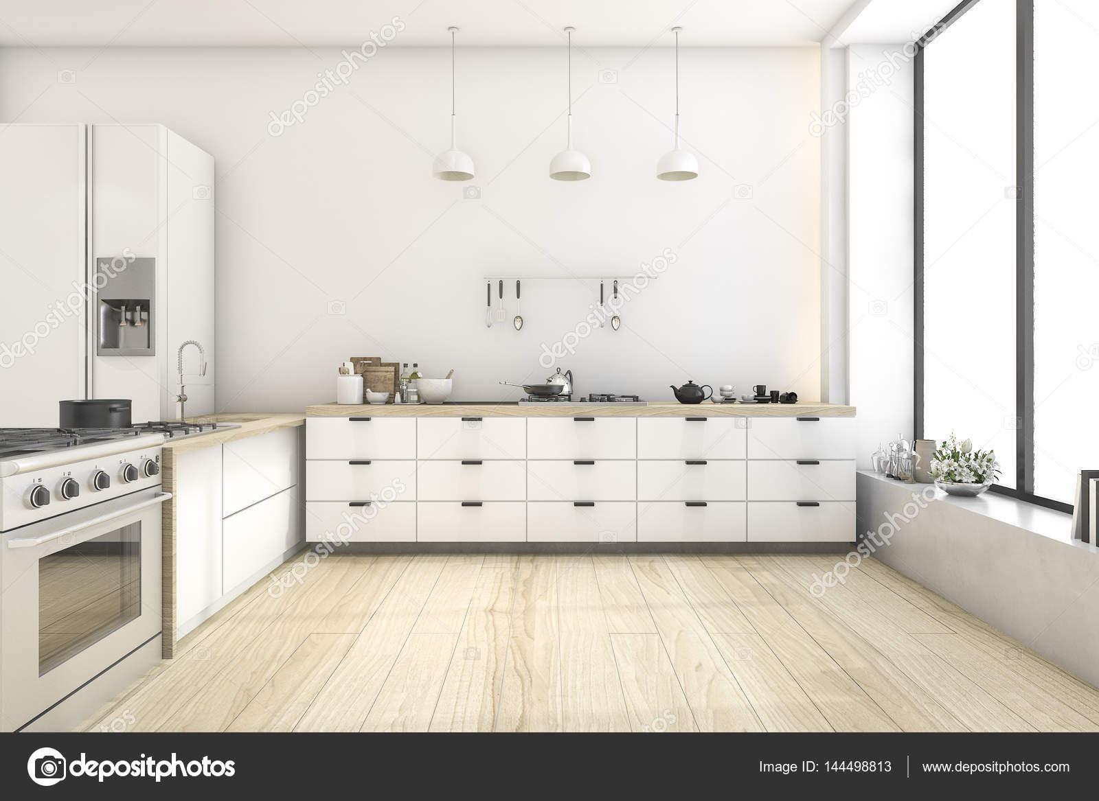3D Rendering weißen skandinavischen Stil Küche mit Lampe — Stockfoto ...