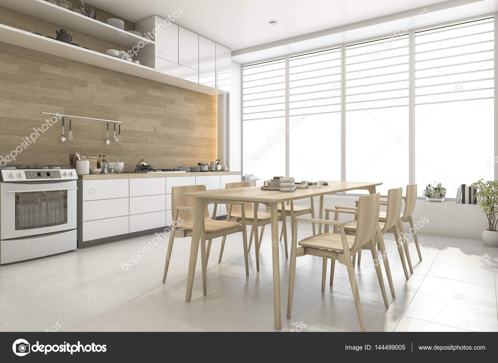3D Rendering weißen skandinavischen Stil Holz, Küche und Esszimmer ...