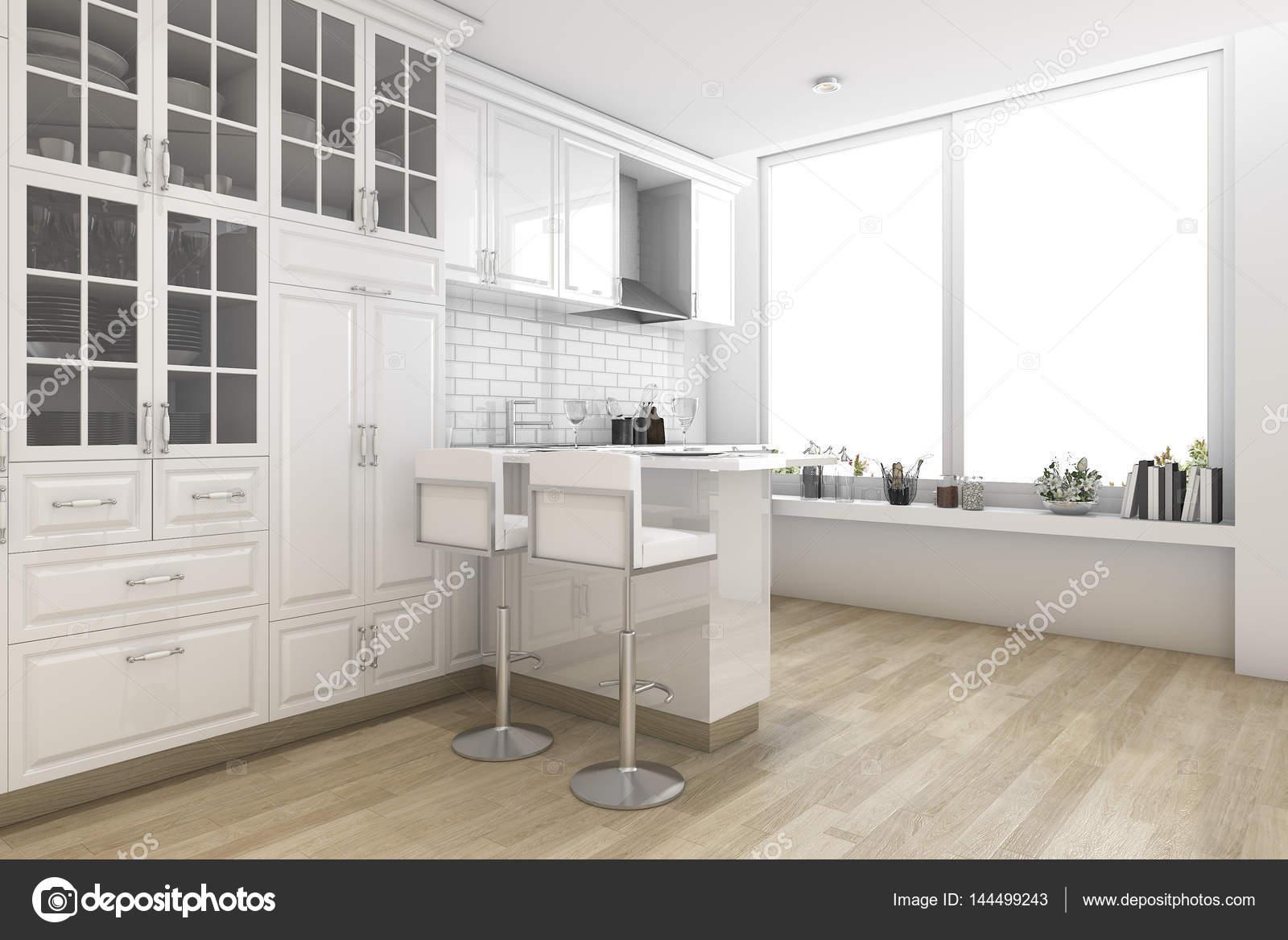 Esszimmer skandinavischer stil  3D Rendering weißen skandinavischen Stil Küche und Esszimmer ...