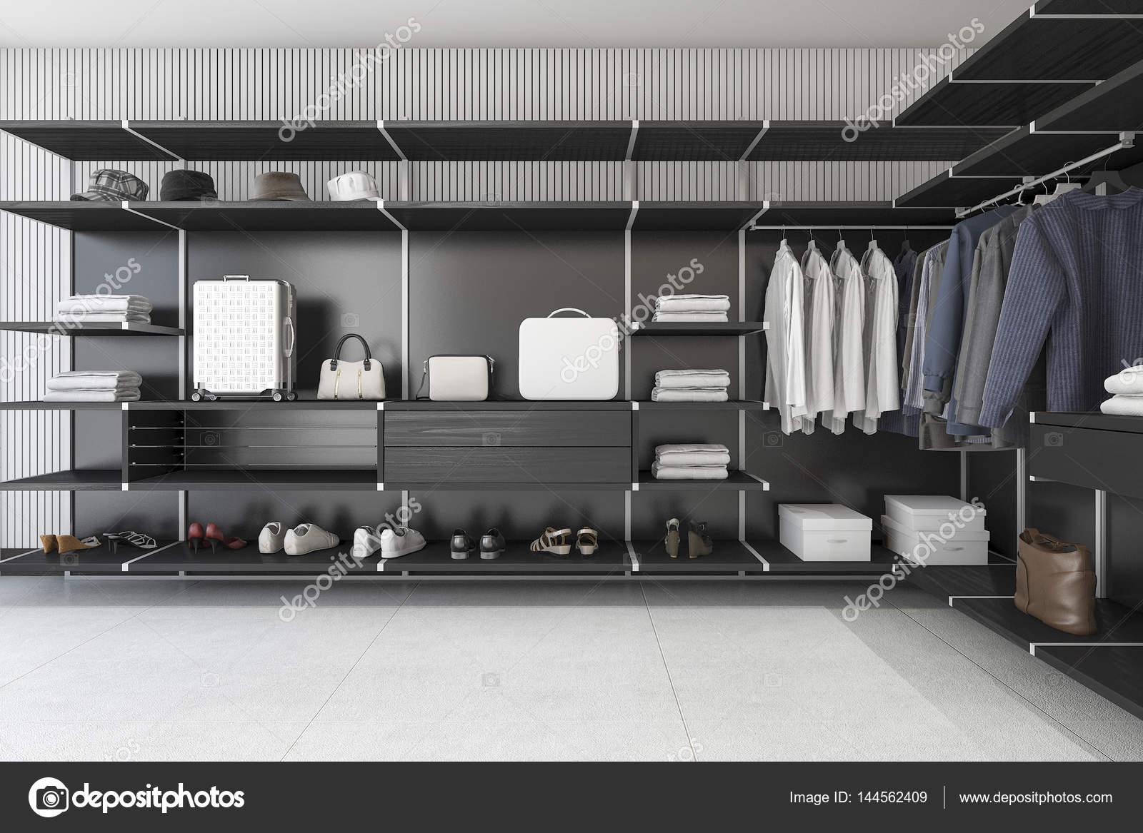 Cabina Armadio Bassa : 3d nero moderno loft di rendering cabina armadio con abito e camicia