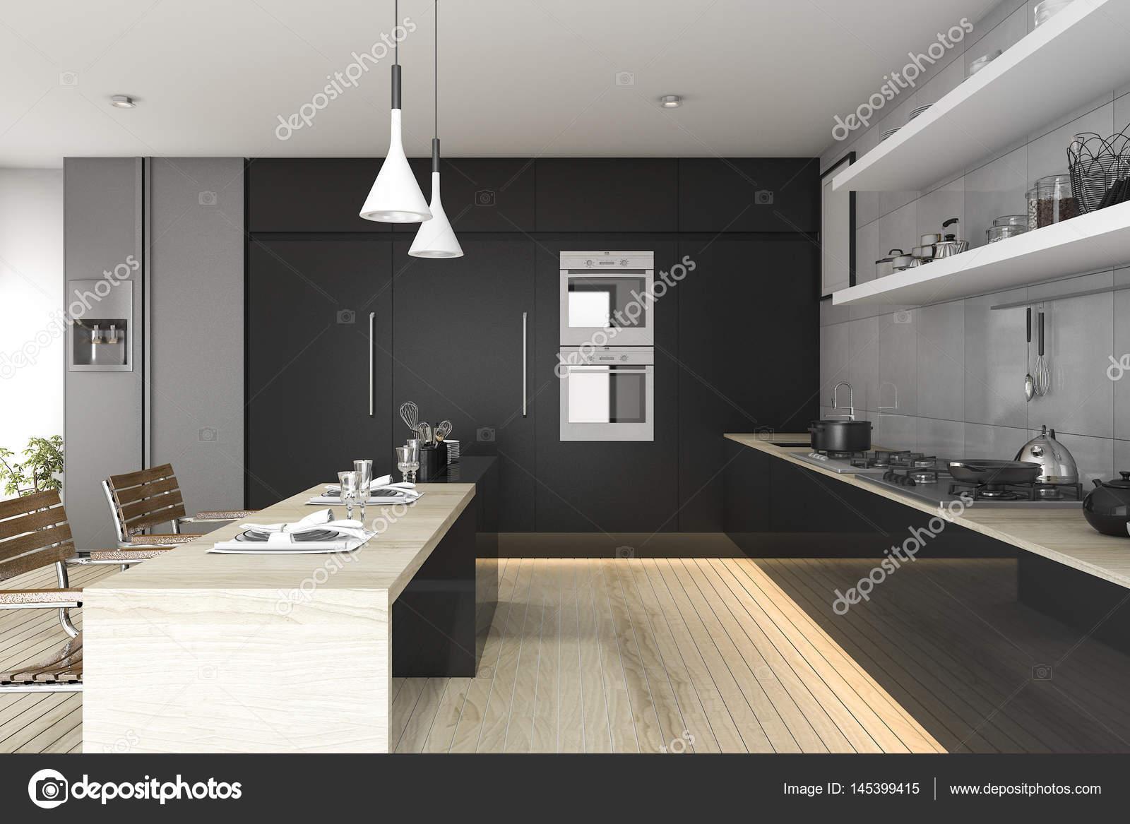cocina 3D de renderizado negro con piso de madera y luz — Fotos de ...