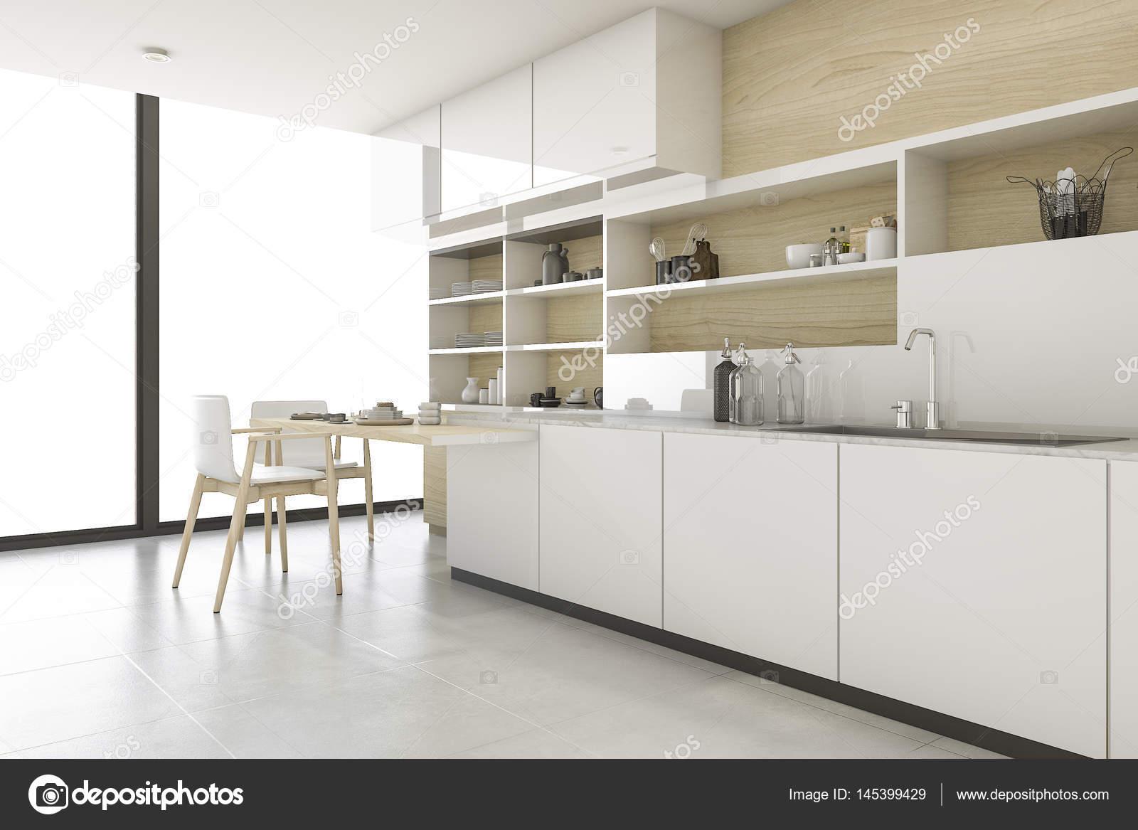 3d rendering scandinavische keuken met minimalistische stijl