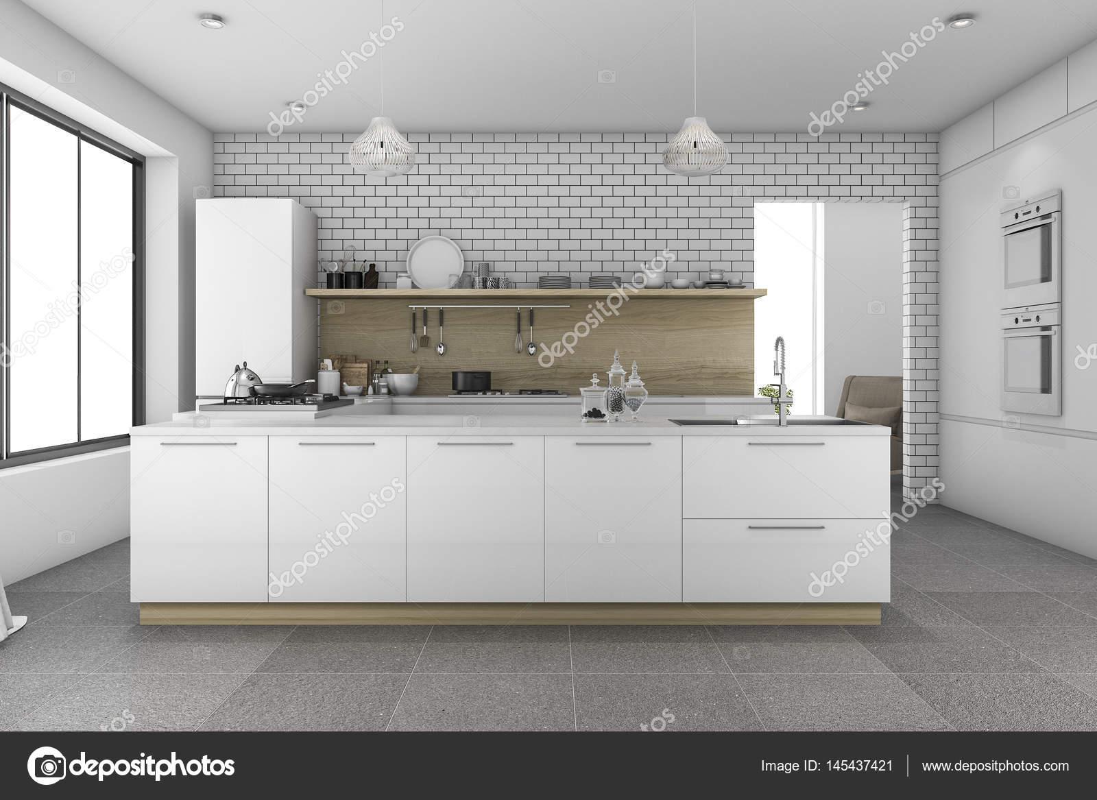 Mooie Keuken Tegels : 3d rendering mooie tegel keuken met bakstenen muur u2014 stockfoto