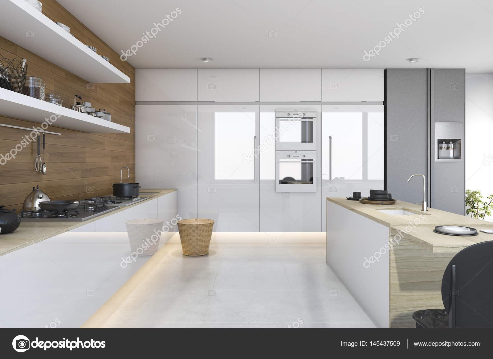 3D Render madera cocina con barra comedor — Foto de stock © dit26978 ...