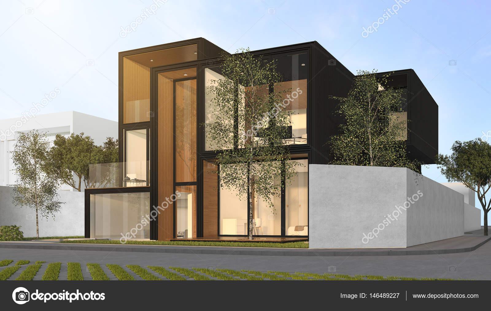 3D Rendering schwarz modernes Haus — Stockfoto © dit26978 #146489227