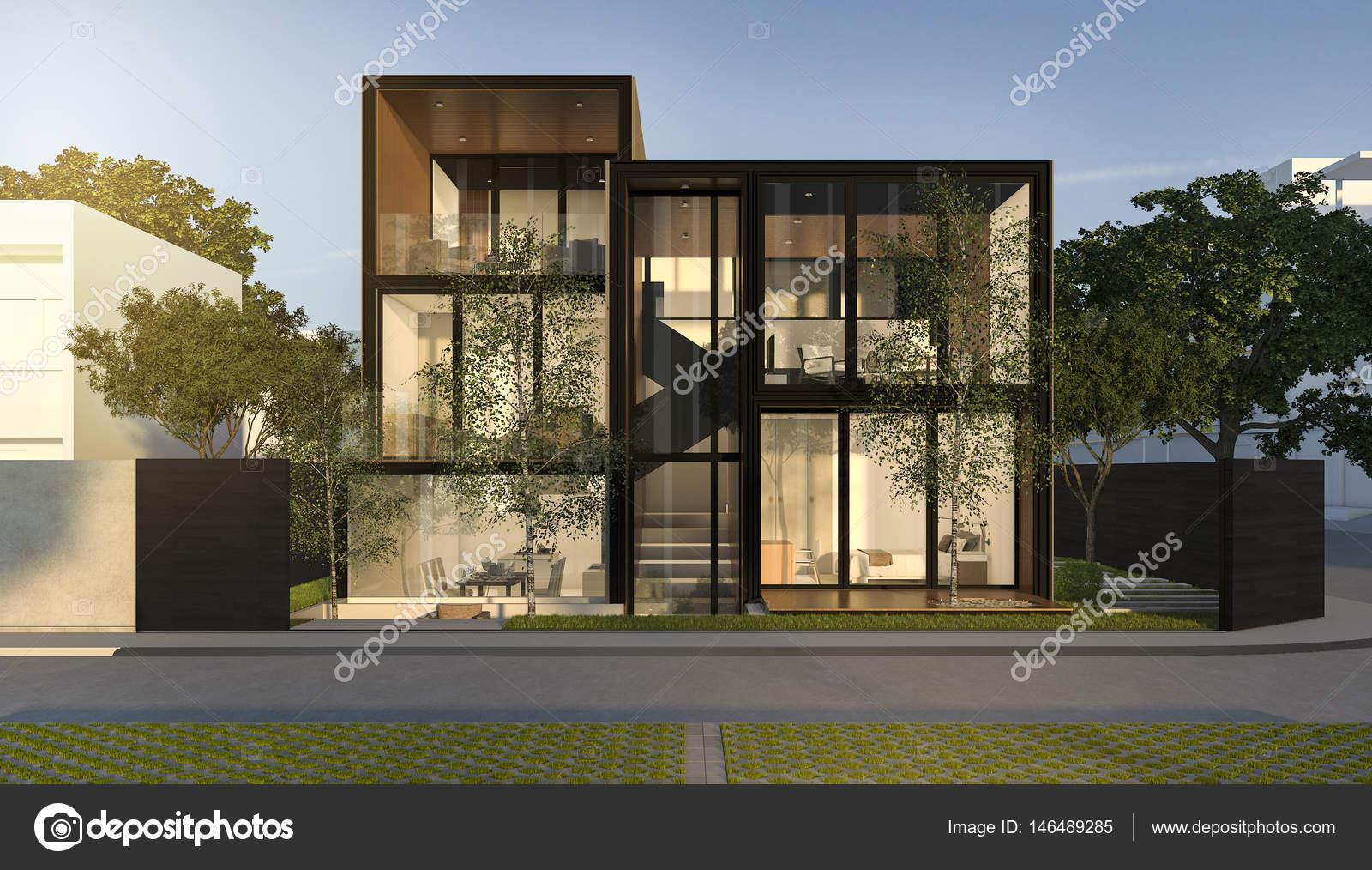 3D Rendering schwarz loft modernes Haus im Sommer — Stockfoto ...