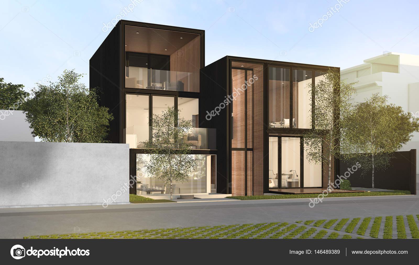 3D Rendering schwarz loft modernes Haus — Stockfoto © dit26978 ...