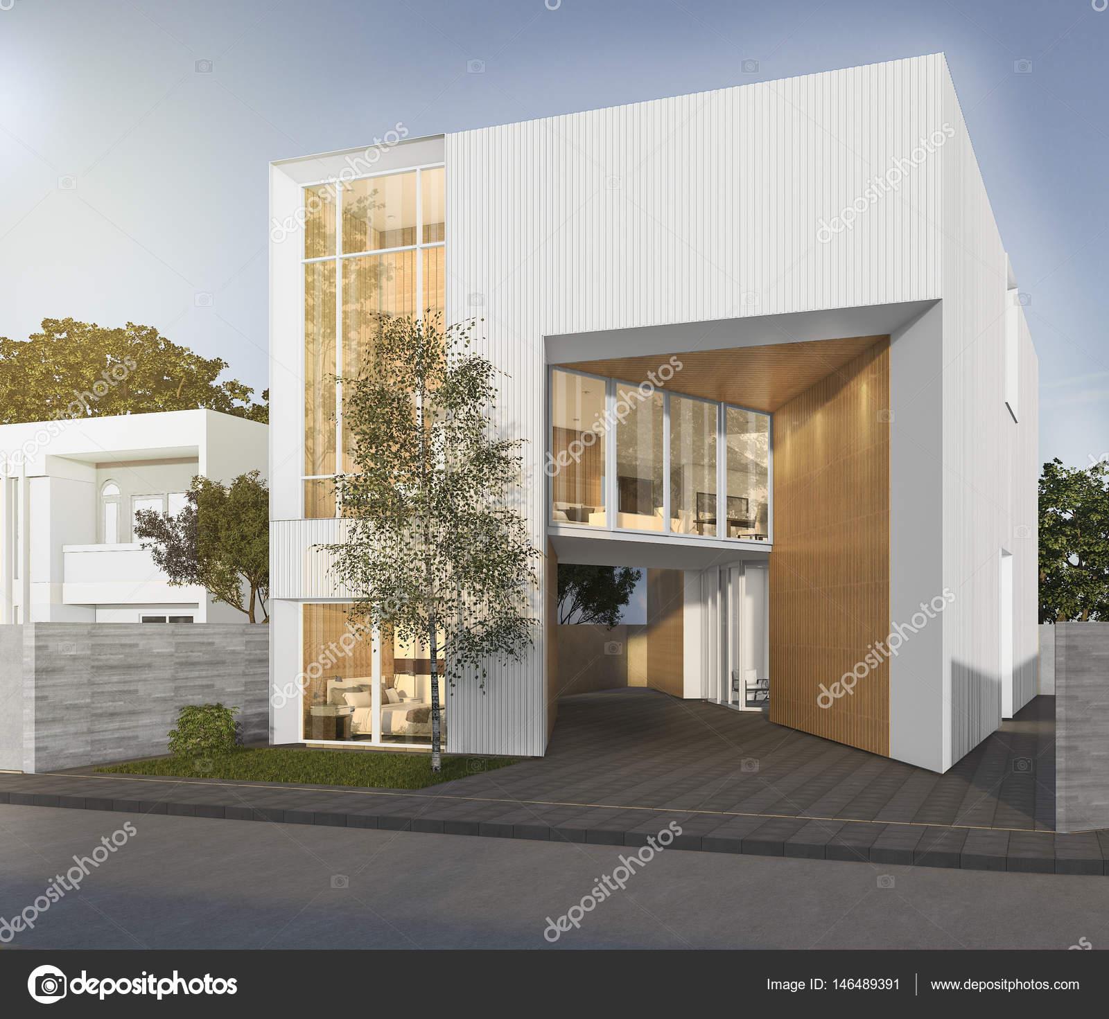 3D maison cubique de rendu blanc avec un design moderne ...
