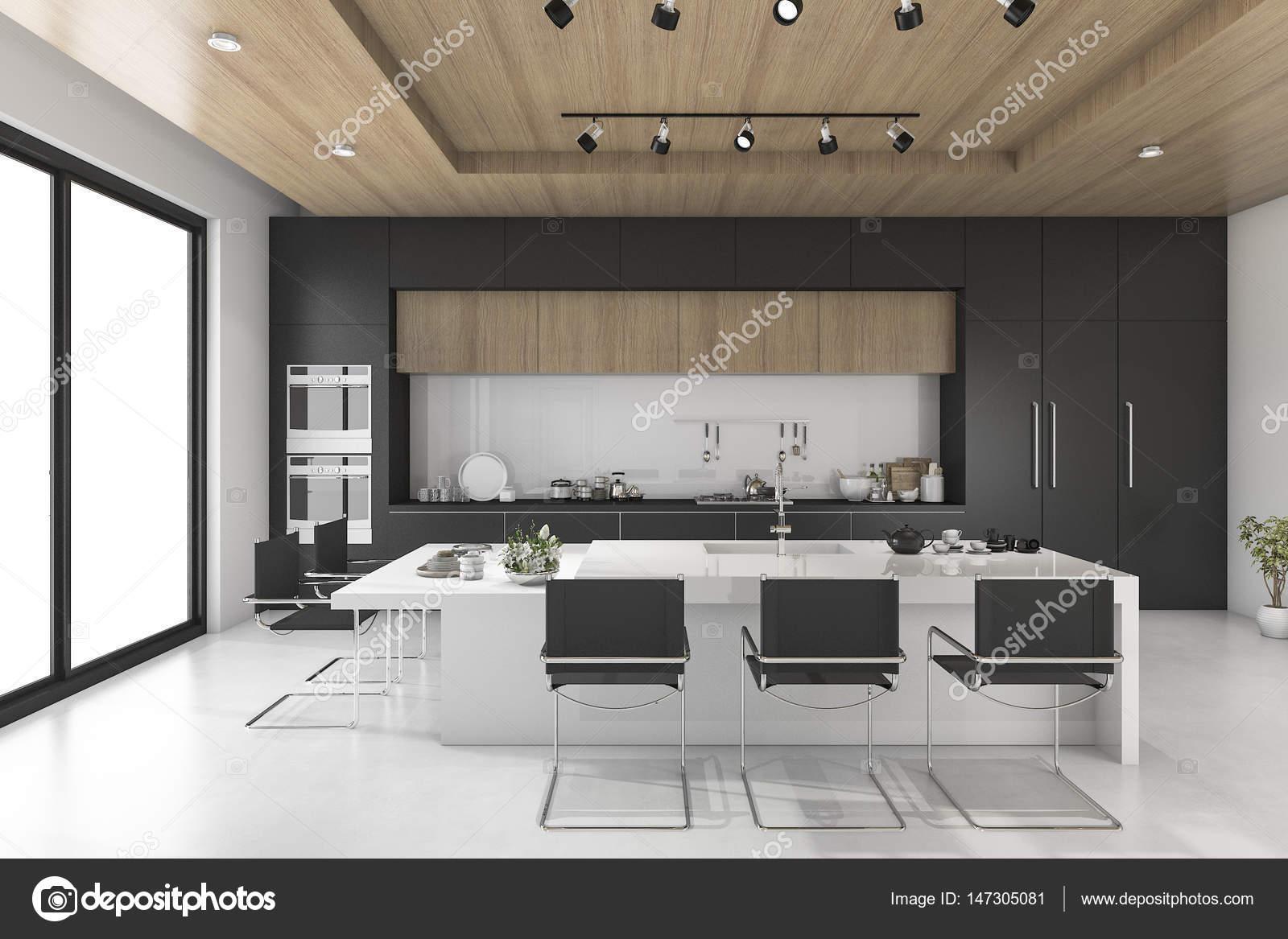 3d Renderowania Czarna Kuchnia Z Drewna Sufit Zdjęcie