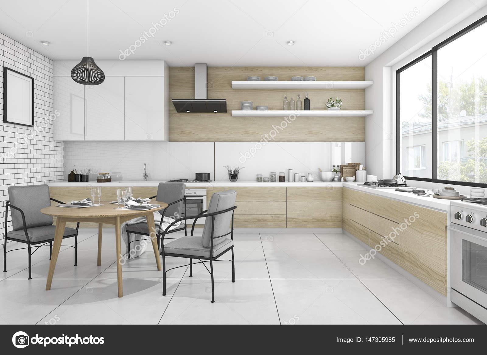 3D cocina vintage de representación blanco con mesa de comedor y ...