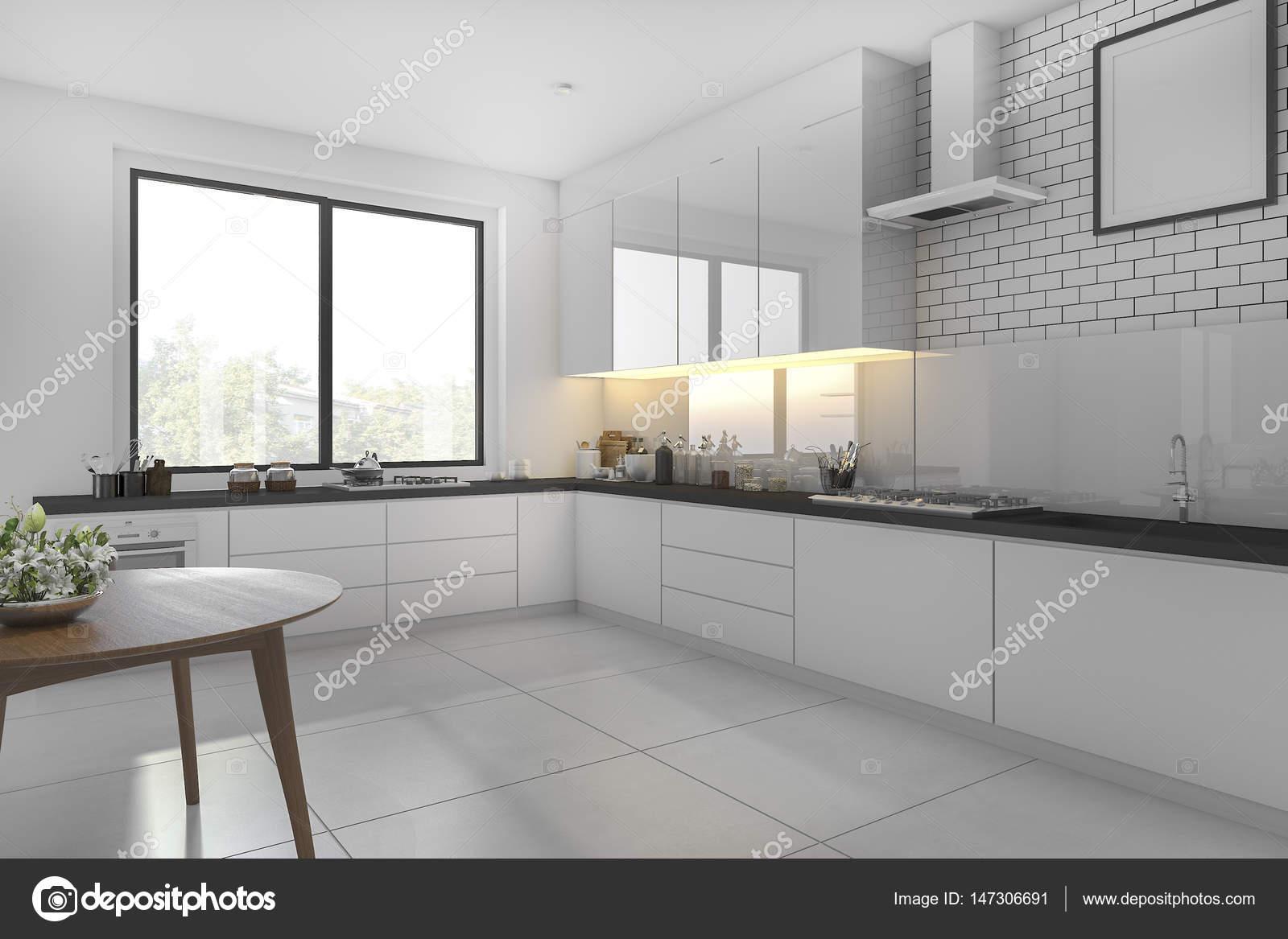 3D Rendering weißen minimale Küche mit Esstisch — Stockfoto ...